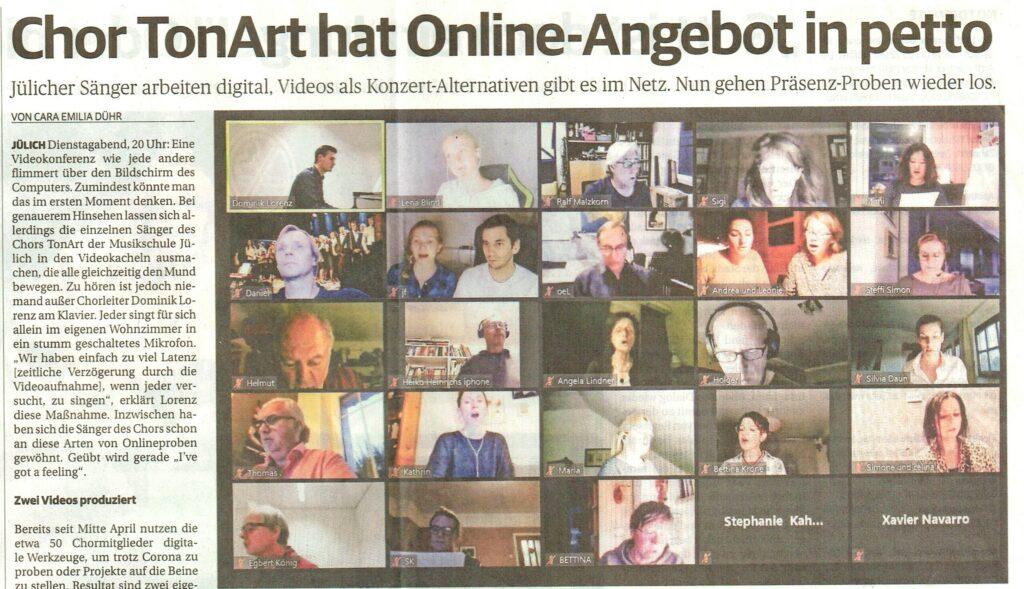 Zeitungsartikel Jülicher Nachrichten / Jülicher Zeitung vom 22. September 2020